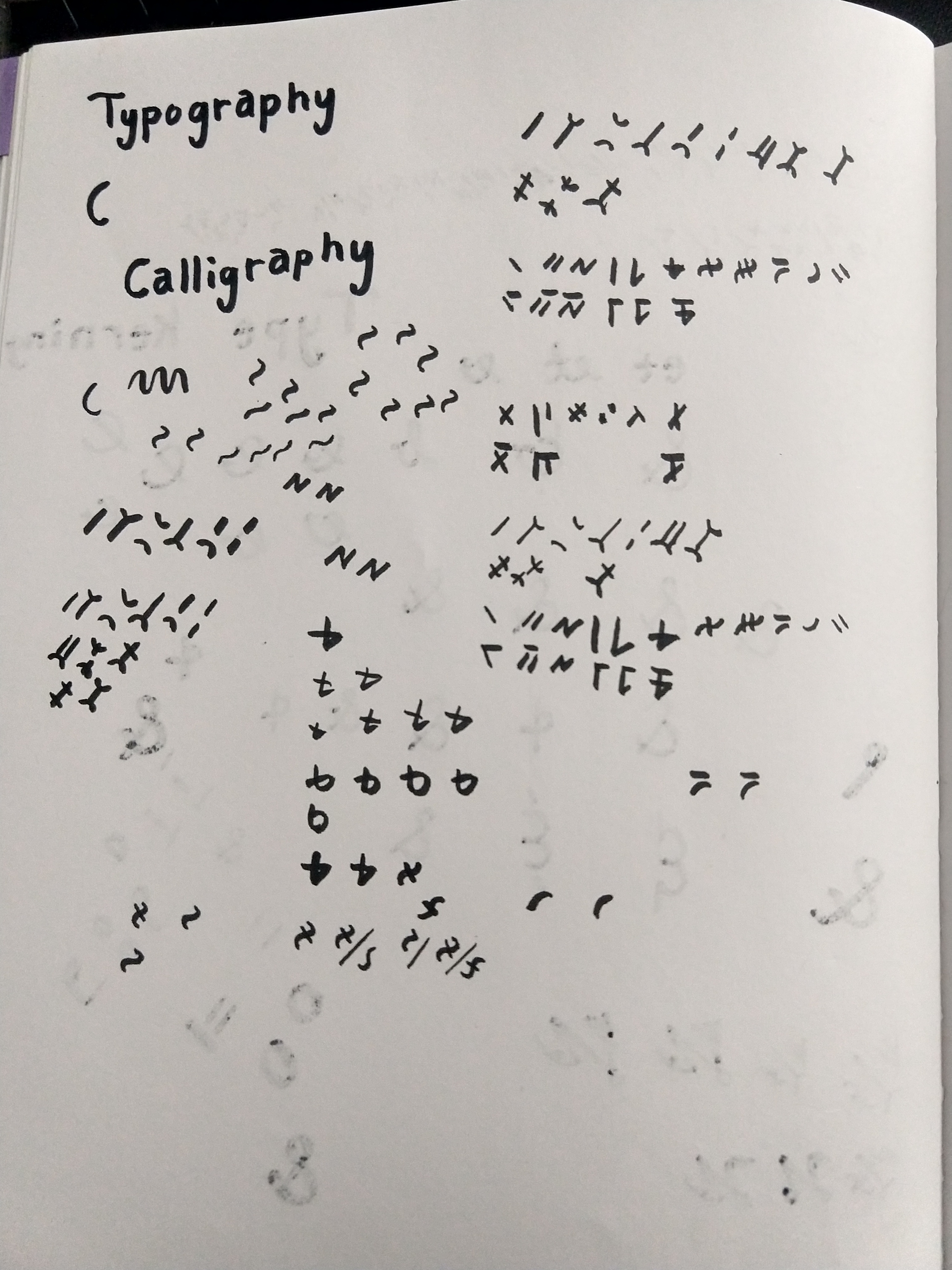 "The words ""Typography"" and ""Calligraphy"" are written in the top left, and the entire rest of the page is covered in repetitive non-English writing"